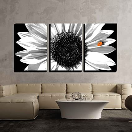 Wall26 3 piece canvas wall art sunflower in black and white with red ladybug
