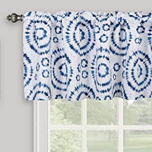 Inselnwald Geo Pattern Round Circle Print Valances for Windows, Tie Dye Style Thermal Insulated Rod Pocket Curtain Valance for Kitchen Bedroom Home Decor 52 Inch by 18 Inch, Navy Blue