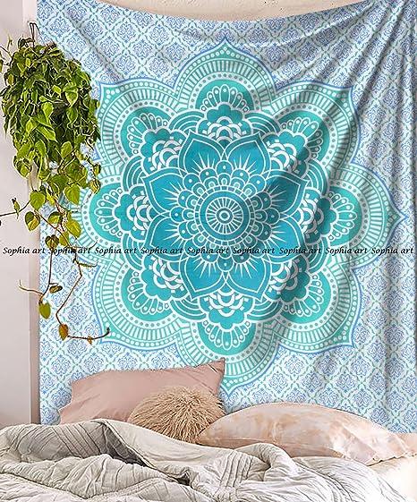 Sophia Art - Colcha de flor de loto verde indio con fondo ...