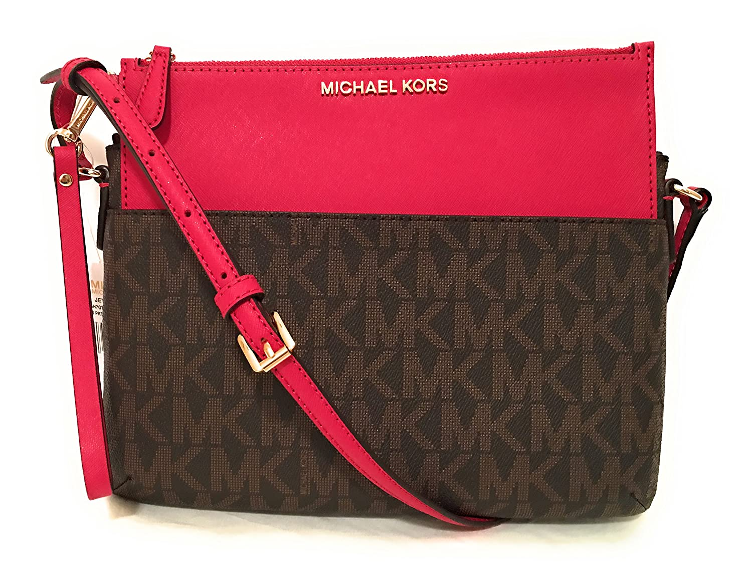 2efc611ec37d Amazon.com  Michael Michael Kors Jet Set Travel Large Pocket Messenger Bag  Brown Lipstick  Shoes
