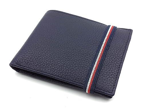 FJR-ArtPiel - Cartera, billetera, tarjetero, monedero tipo americano Piel Ubrique con cierre de elástico tricolor - Alta Calidad - Azul Marino