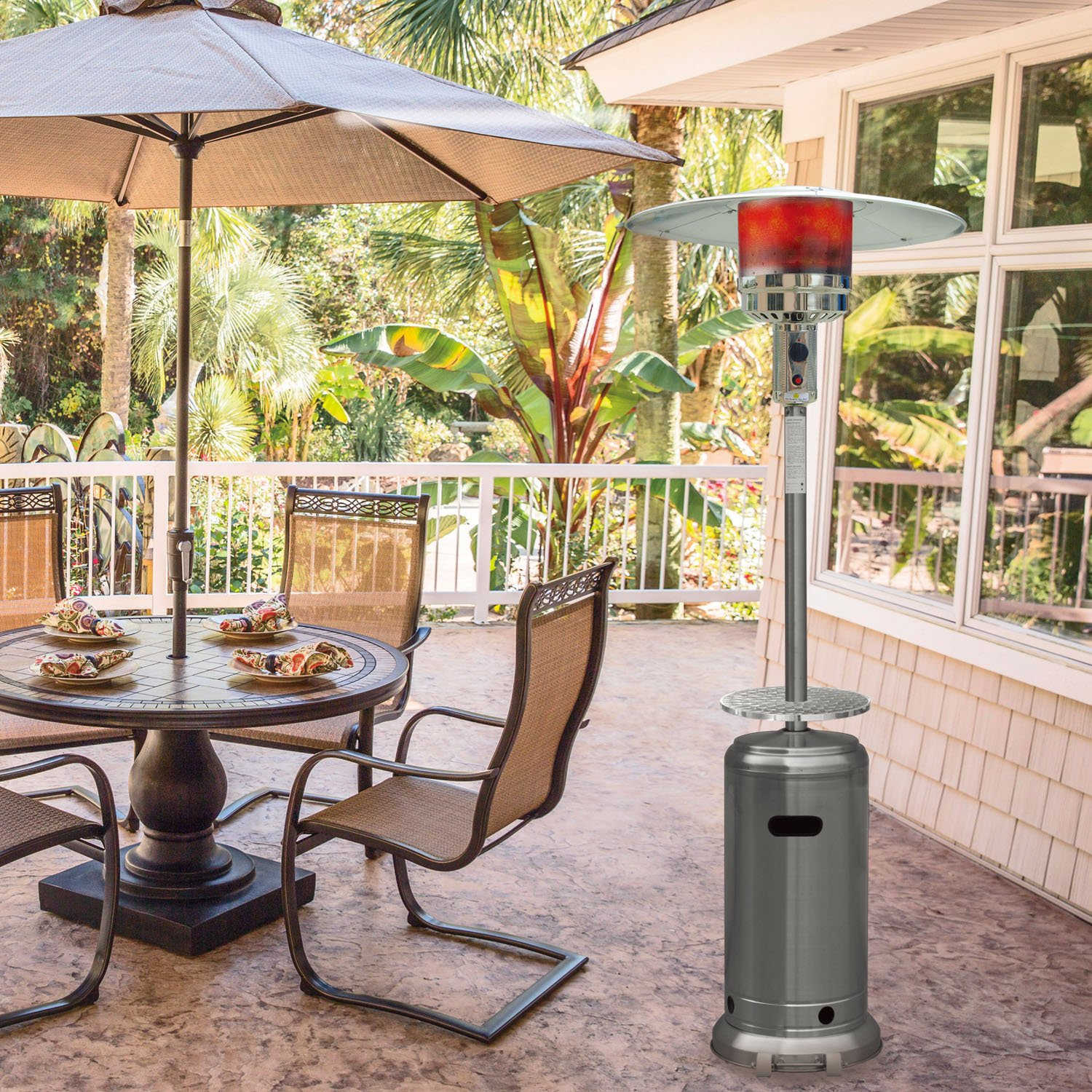 amazon com hanover 41000 btu steel umbrella propane patio heater