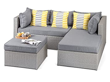 Calabria Outdoor Grey Rattan Sofa with Coffee Table and Footstool, 3 ...
