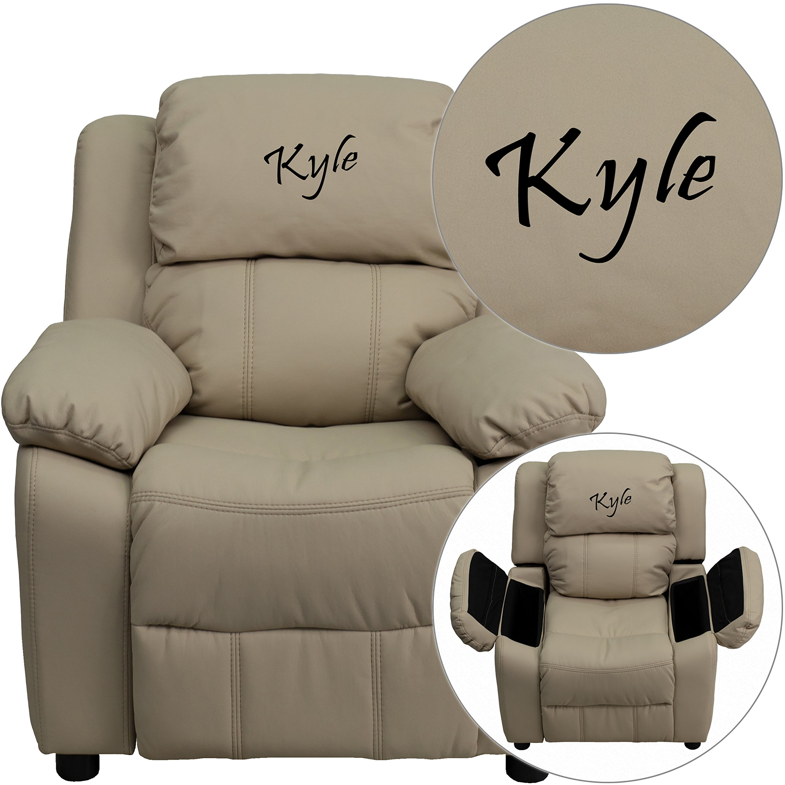 Winston Direct Kids' Series Personalized Deluxe Padded Beige Vinyl Recliner with Storage Arms