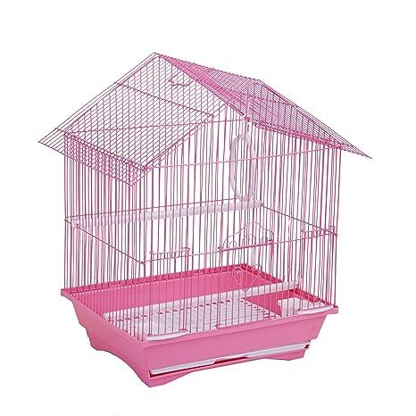 Jaula para pájaros en acero rosa + mangeoires columpio cajón ...