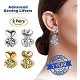 Advanced Premium Quality Earring Lifters | Back Lobe Ear Support | 2-Pair Set of Piercing Ear Lobe Back Lift | Sterling Silver and 18K Gold Plated for Ear Lobe Reinforcement | BONUS Velvet Storage Bag