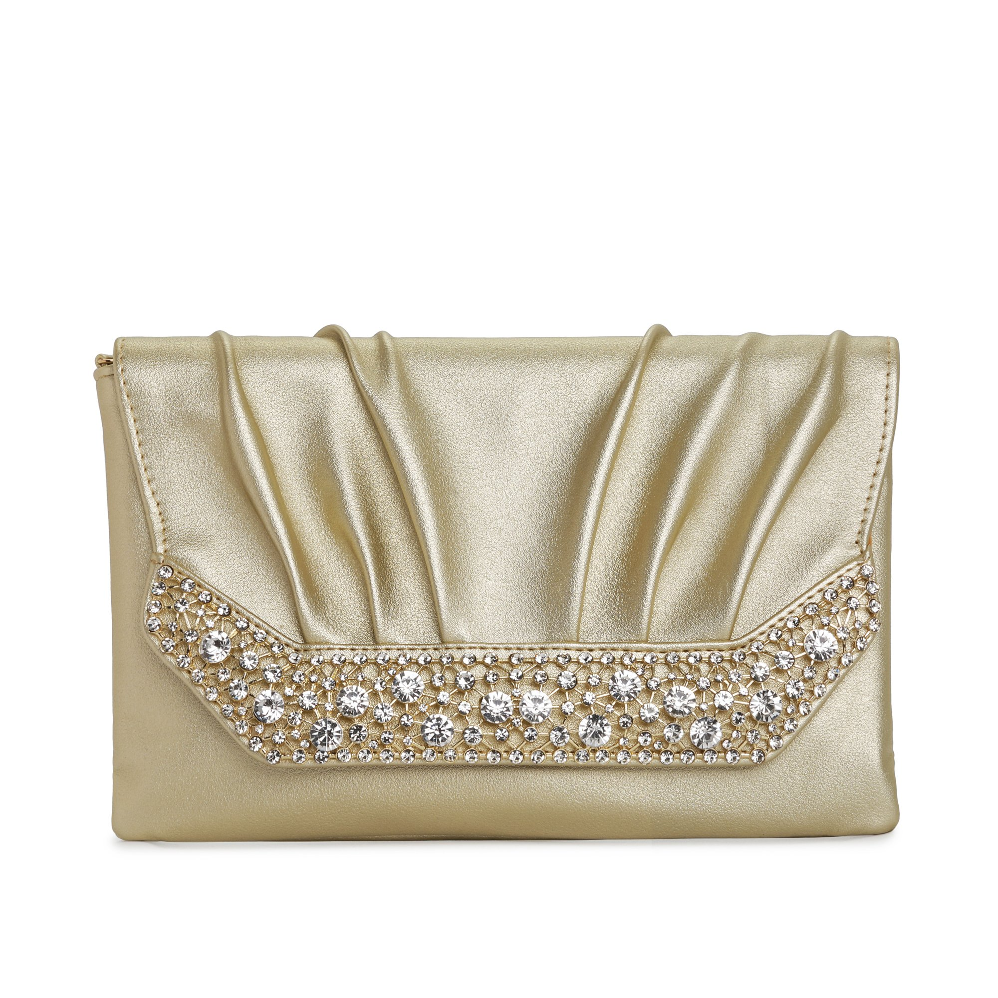 Evening Clutches Bags for Women, Envelope Clutch Wedding Purses With Chain Cross Body Shoulder Bag for Party Prom (Gold)