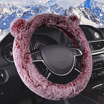 FH Group FH2011RED Steering Wheel Cover Cute and Fluffy Koala Bear Universal Plush Steering Wheel Cover fits Most Cars, Trucks, SUVs, and Vans: Automotive