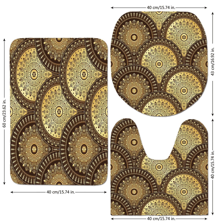 3 Piece Bathroom Mat Set,Gold-Mandala,India-Culture-Motifs-Lapping-Over-Romantic-Medallion-Like-Wavy-Pattern-Decorative,Gold-and-Brown.jpg,Bath Mat,Bathroom Carpet Rug,Non-Slip