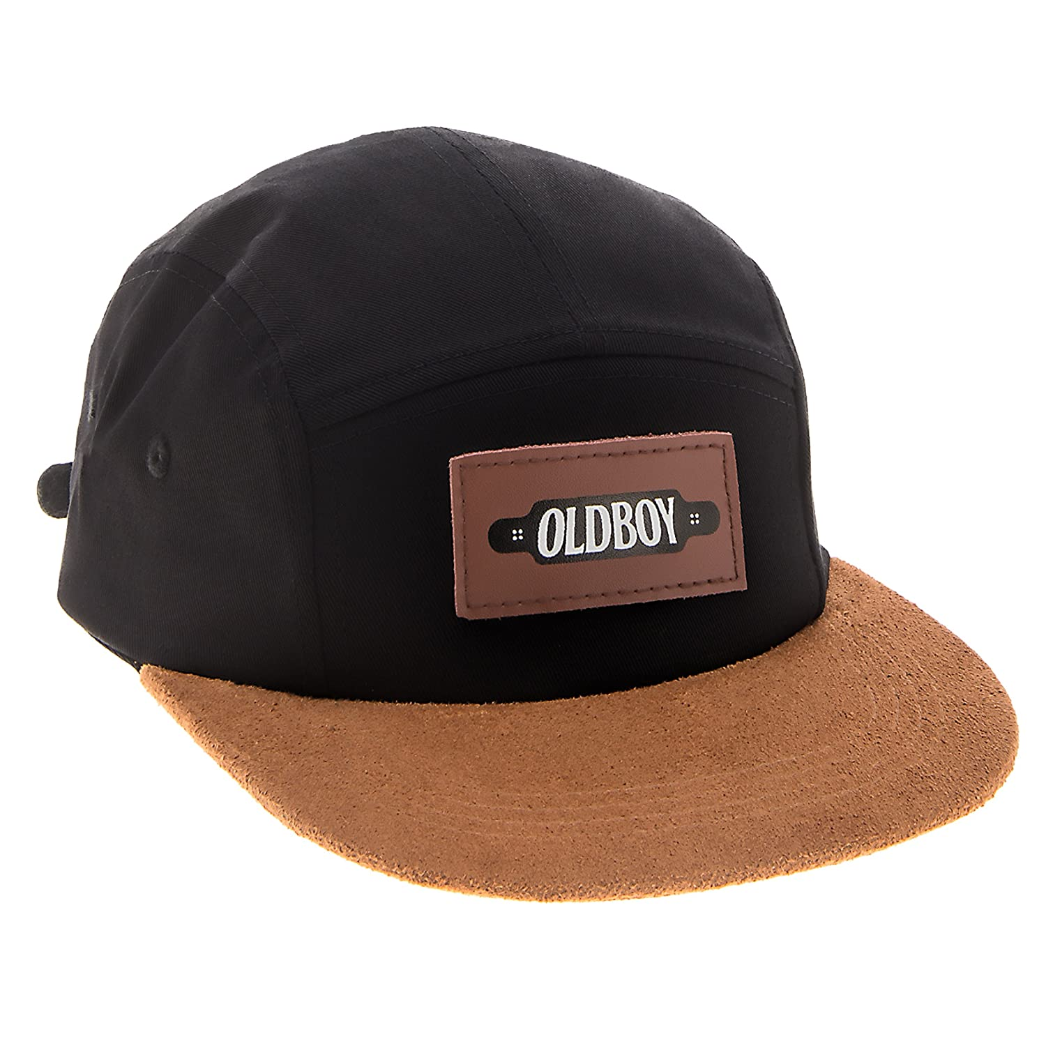 bc830272a0464 Oldboy Five Panel Cotton Flat Bill Hat for Skaters and Longboarders Black  at Amazon Men s Clothing store