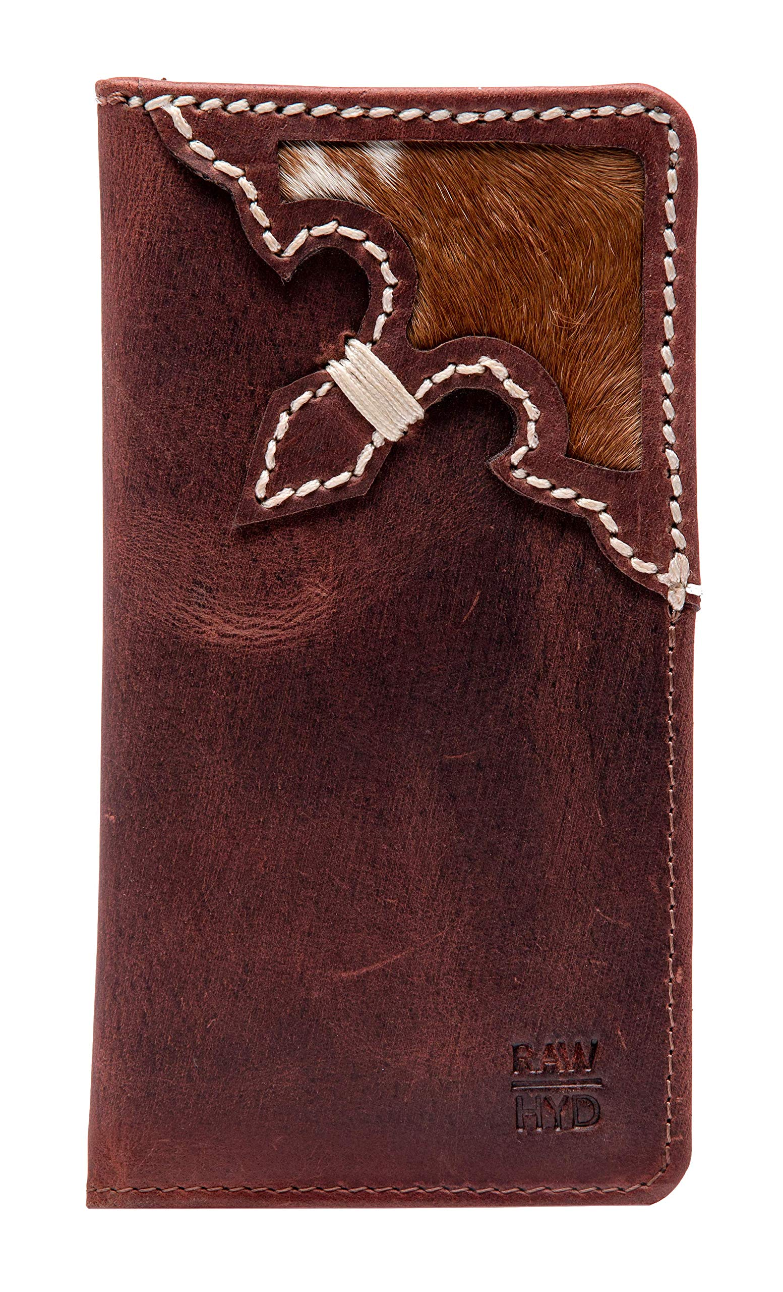RAWHYD Western Full Grain Leather Long Bifold Rodeo Wallet For Men | Perfect Checkbook Cover | Tall Cowboy Wallet