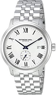 Raymond Weil Mens Maestro Swiss-Automatic Watch with Stainless-Steel Strap, Silver (