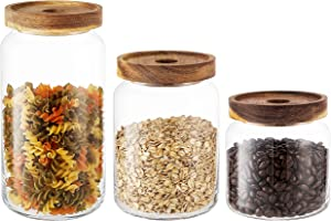 KMwares 3PC Stackable Clear Glass Food Storage Jar/Cotton Container With Airtight Seal Acacia Wood Lids for Kitchen/Bathroom/Pantry, Serving Candy, Snack, Honey, Leaf Tea, Coffee Bean, Dry food