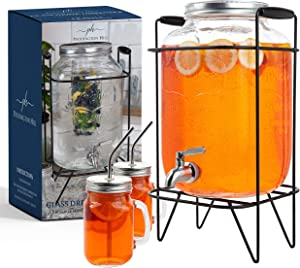2 gallon glass drink dispenser with stand and 2 mason jars and stainless steel spigot and fruit infuser beverage dispenser drink dispenser for parties drink dispenser with spigot