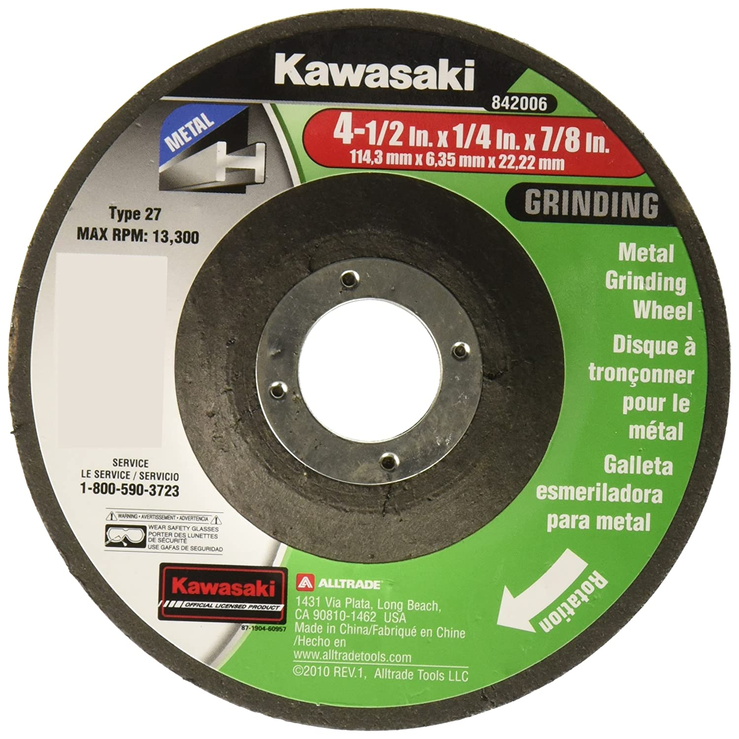 Kawasaki 841486 Metal Depressed Center Grinding Wheel 5-Pack Alltrade Tools