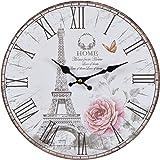 Orologio da muro - Rose Paris - Silenzioso orologio da cucina in legno con grande quadrante in MDF, Orologio retro con design shabby chic alla moda con meccanismo silenzioso al quarzo, Ø: 32 cm
