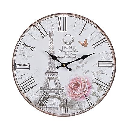 Reloj de pared - Rose Paris - reloj de cocina de madera con esfera grande de