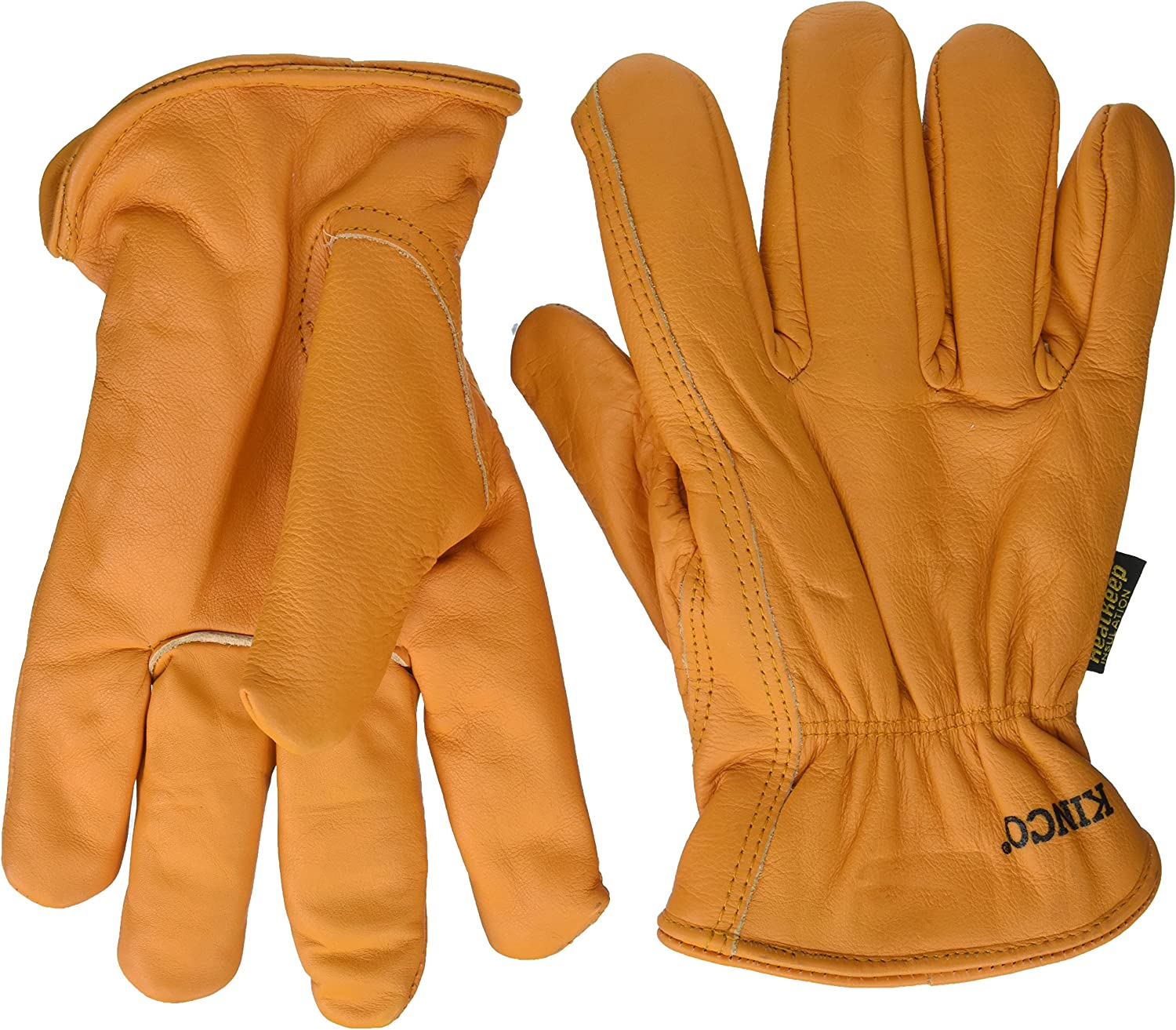 Getting Fit 35117008175 Kinco 0 Lined Grain Buffalo Leather Ranch and Work Glove, Single Pair, Medium,Orange