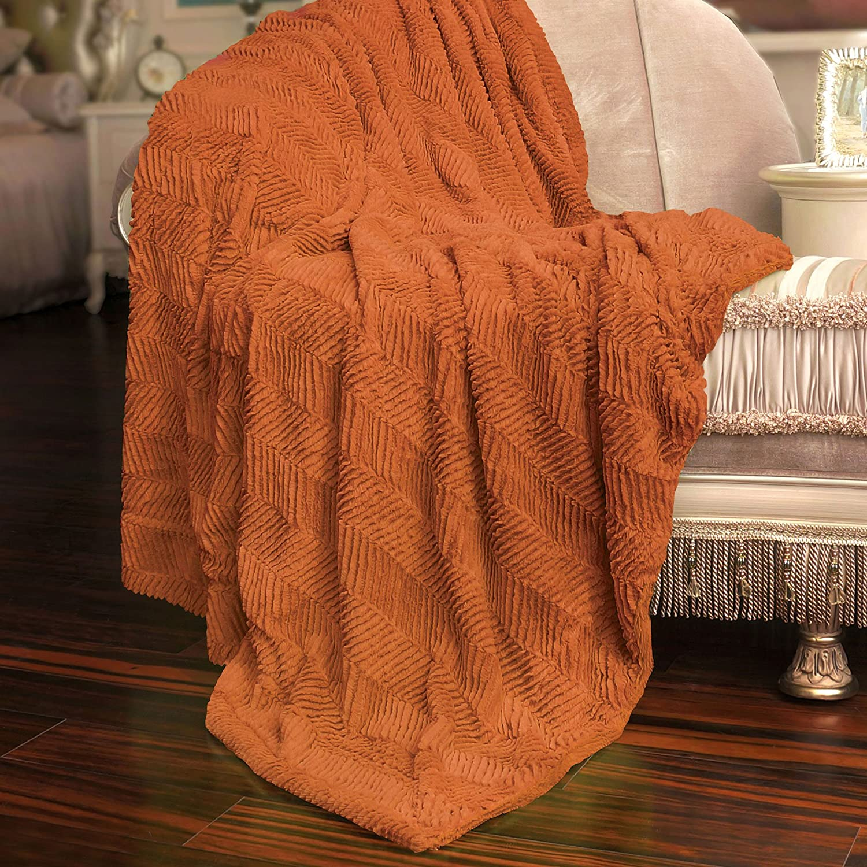 "Home Soft Things Herringbone Brushed Throw, 50"" x 60"", Burnt Orange"