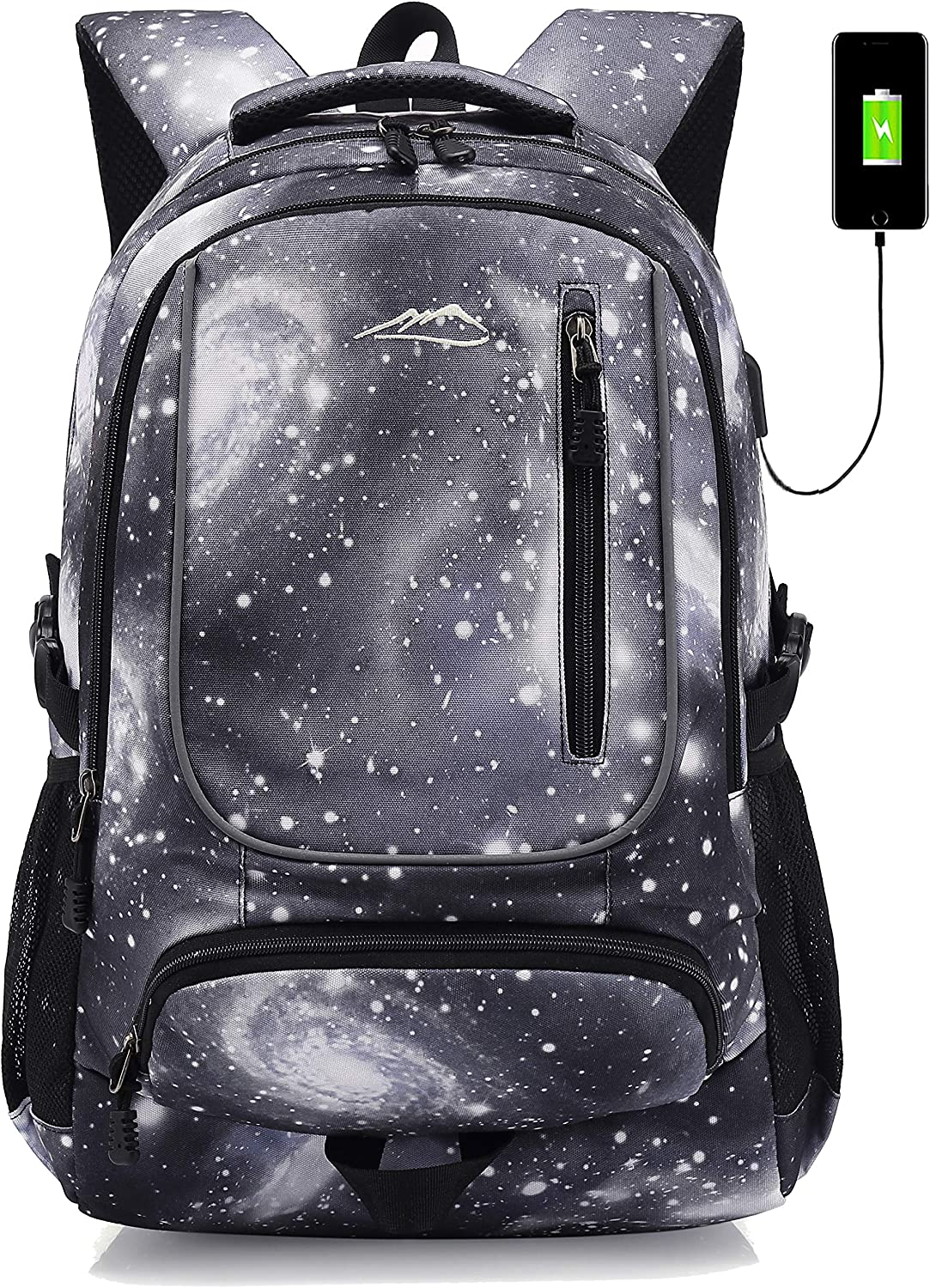 School Backpack Bookbag with USB Charging Port for College Travel Hiking Fit Laptop Up to 15.6 Inch