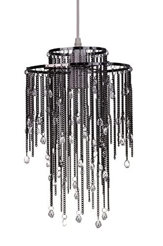 Kliving metallic chain two tier non electric ceiling light shade kliving metallic chain two tier non electric ceiling light shade glass droplets mozeypictures Gallery