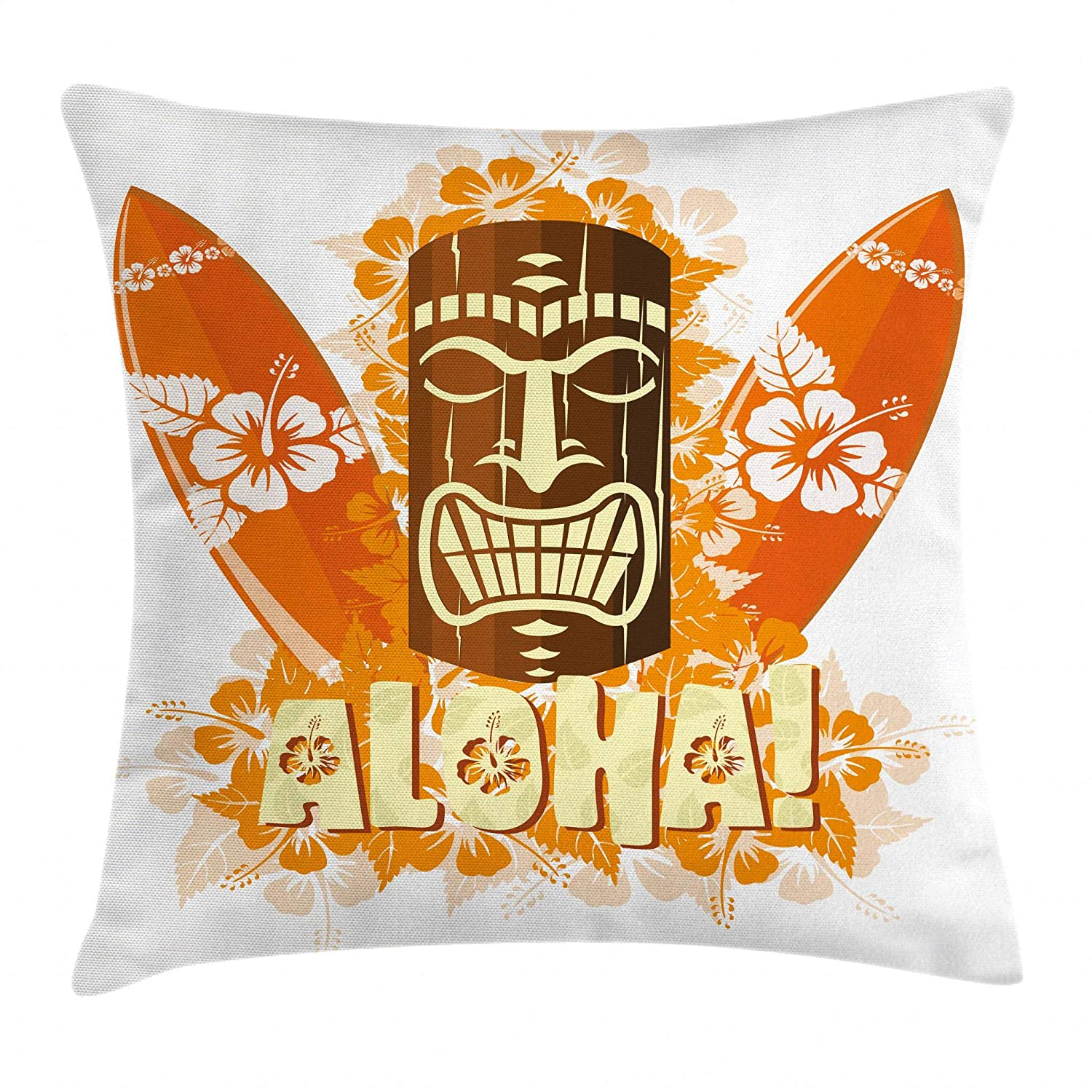 "Ambesonne Tiki Bar Throw Pillow Cushion Cover, Hibiscus Flora Burst Orange Surfboards Aloha Tropical Summer Season, Decorative Square Accent Pillow Case, 16"" X 16"", Yellow Orange"