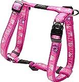 "Rogz Fancy Dress Large 3/4"" Beach Bum Adjustable Fashion Dog H-Harness, Pink Paw Design"