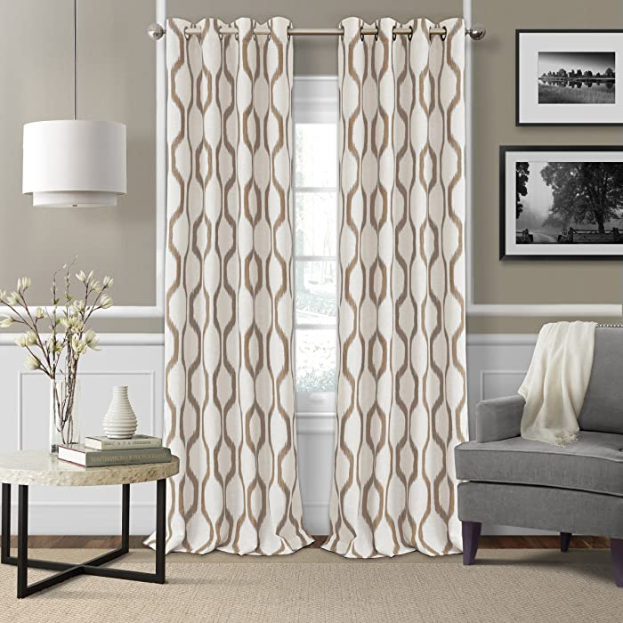 "Elrene Home Fashions Renzo Ikat Geometric Linen Room Darkening Window Curtain Panel, 52"" x 95"" (1, Natural"