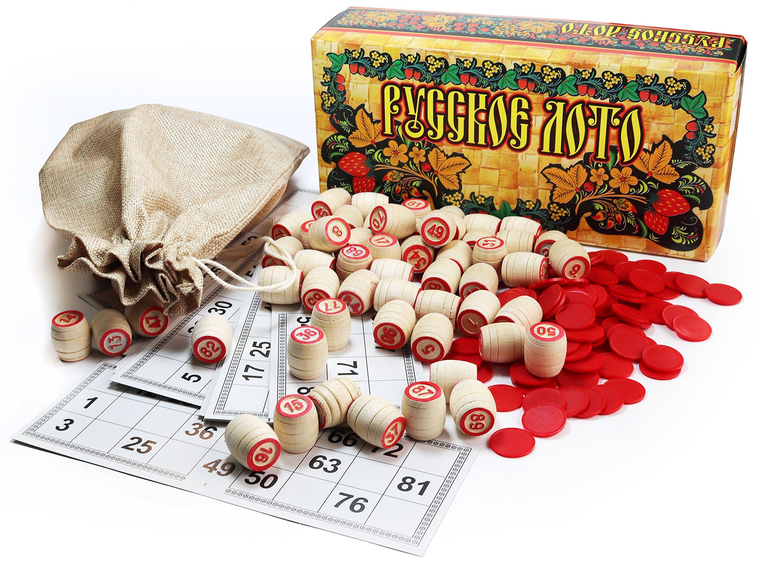 Russian Bingo Game - Russkoe Lotto with Wooden Barrels, Jute Sack, plastic Counters