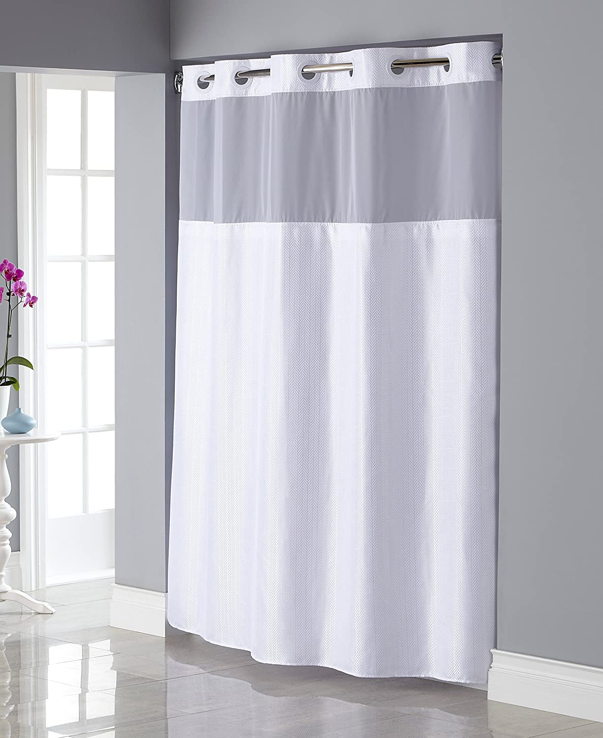 Amazon Hookless RBH34MY835 Shiny Texture Herringbone Shower Curtain With Snap In PEVA Liner