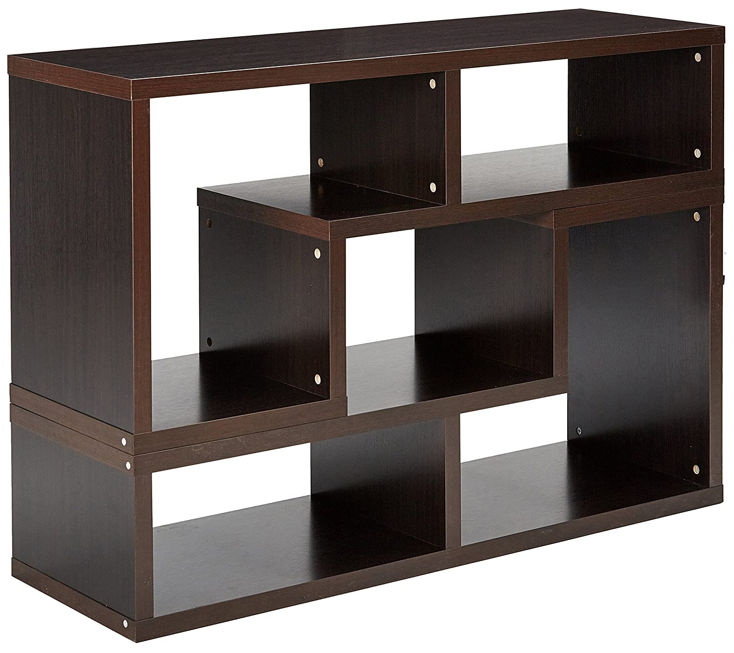 Convertible TV Console and Bookcase Combination Cappuccino