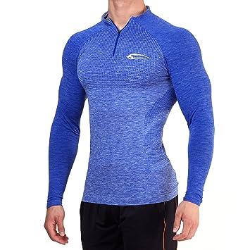 Sportshirt mit Aufdruck Camouflage Langarmshirt SMILODOX Slim Fit Longsleeve Herren Trainingsshirt Langarm Funktionsshirt f/ür Sport Fitness Gym /& Training