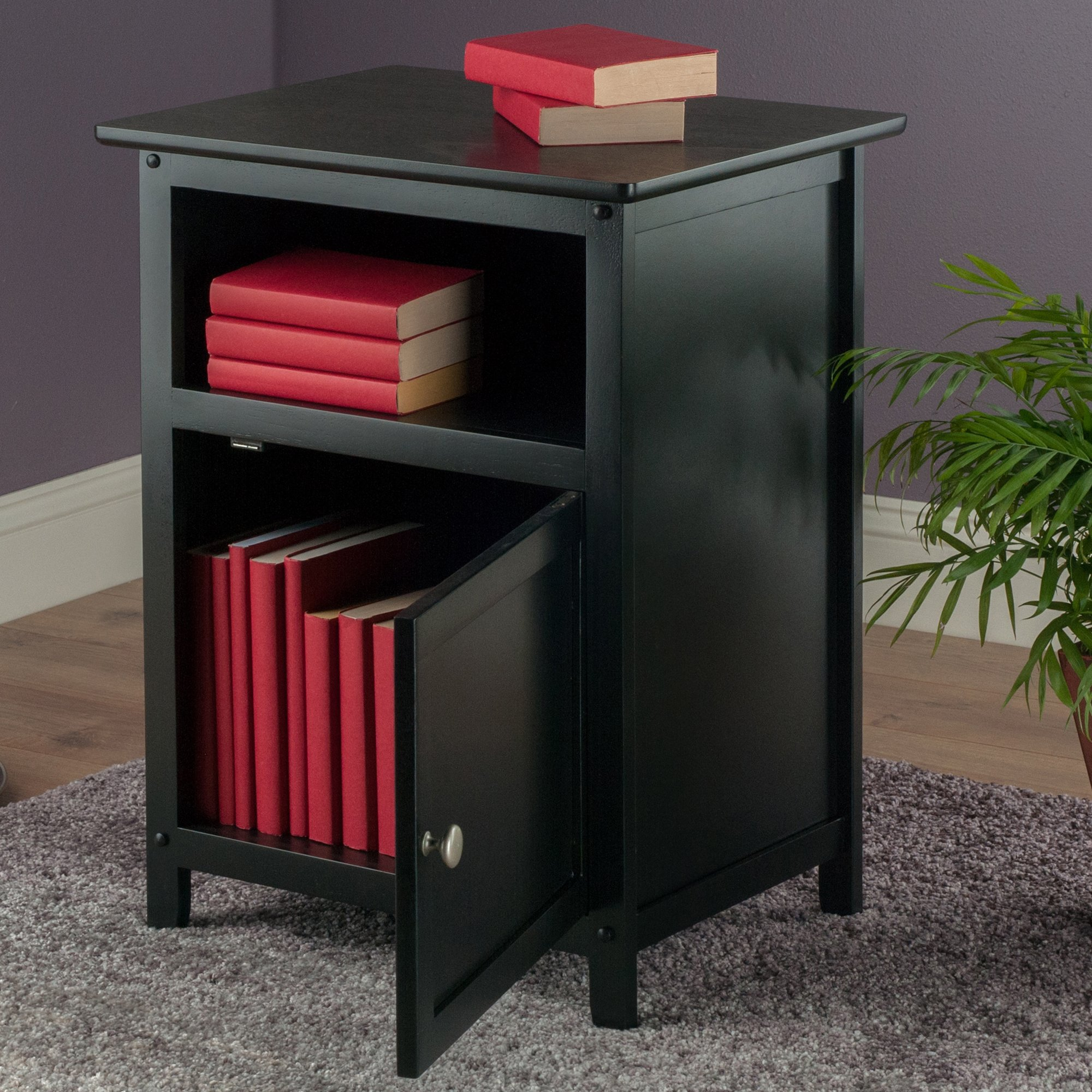 Shaker Style Wood End Table Night Stand W Door N Shelf