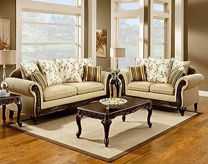 Furniture Of America Velda 2 Piece European Style Sofa Set, Desert Sand