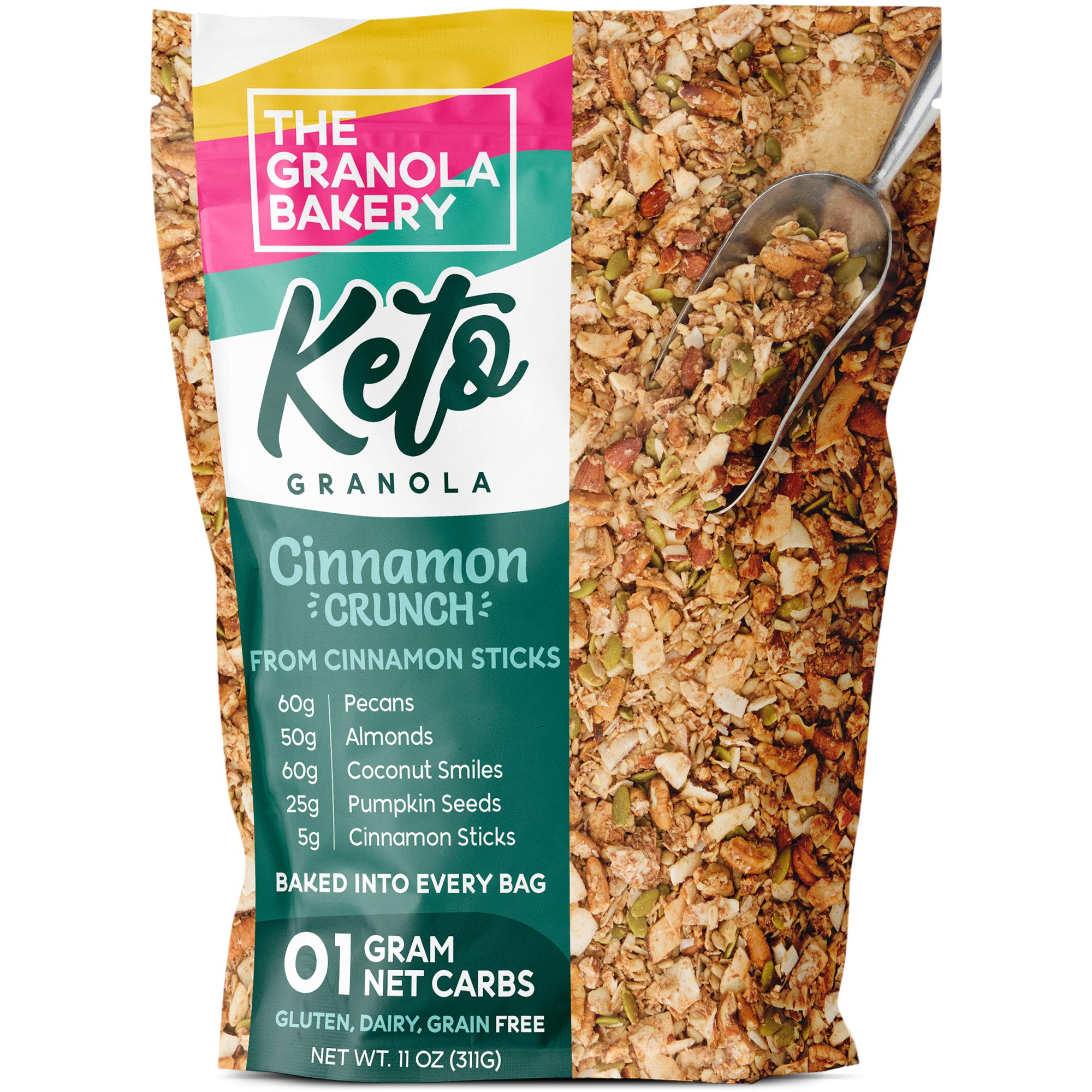 TGB Cinnamon Pecan Keto Granola | 1g Net Carb Snack | Low Carb Nut Cereal | Healthy Artisanal Food, 11 Ounces