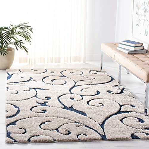 Safavieh Florida Shag Collection SG455-1165 Scrolling Vine Cream and Blue Graceful Swirl Area Rug 6 x 9