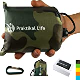 "PRAKTIKAL Pocket Blanket - Compact, Picnic, Beach, Outdoor (66"" x 55"") Made From Premium Soft and Lightweight Waterproof Material Ideal for Camping/Hiking with Practical Pouch and Free Carabiner"