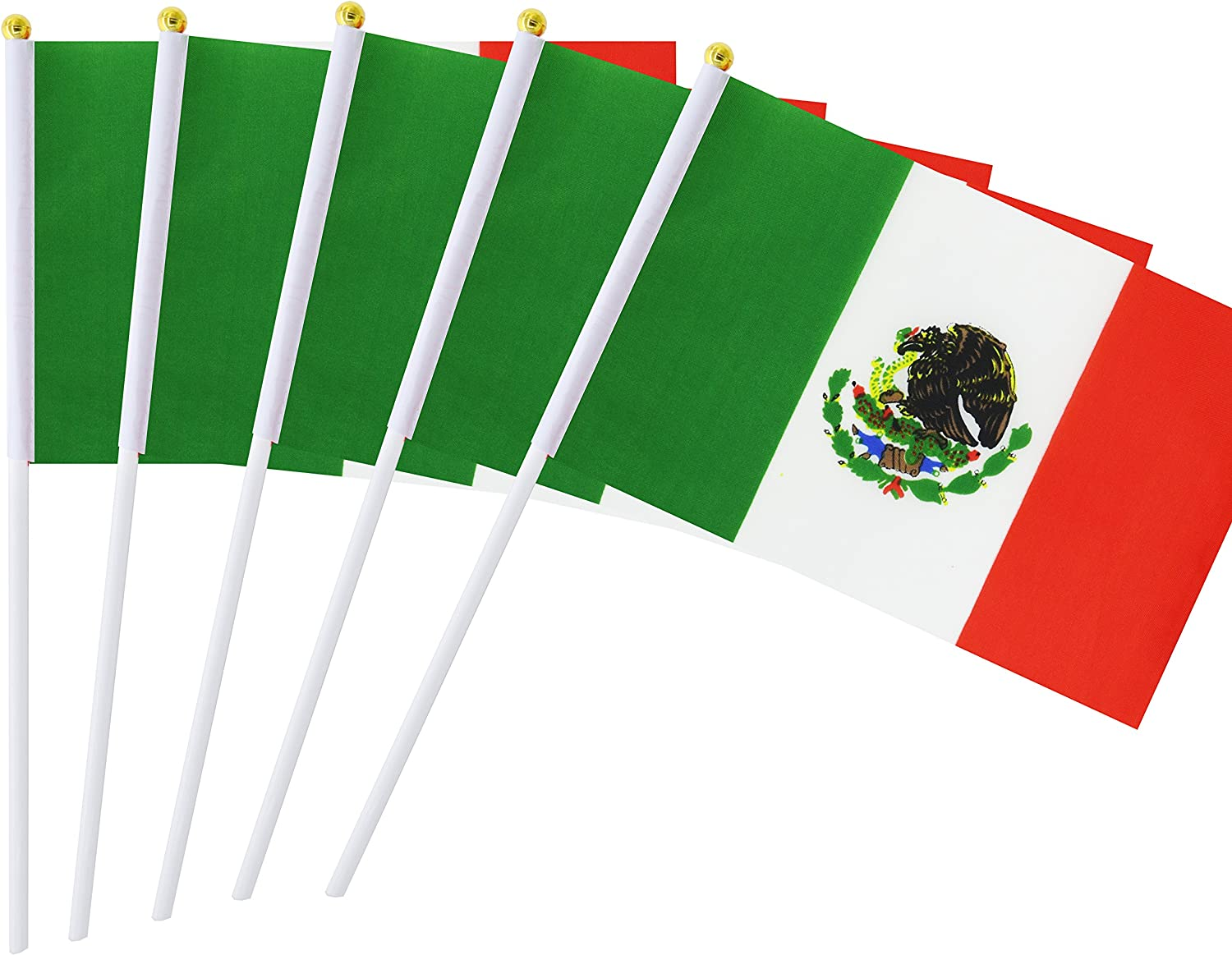 """MEXICO SMALL HAND WAVING FLAG 6/"""" x 4/"""" Mexican Crafts Table Desk Top Display"""