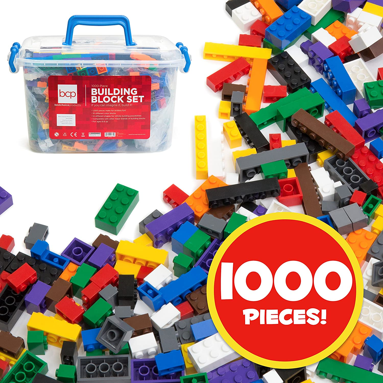 Best Choice Products Deluxe 1000-Piece Building Brick Blocks Set w/ Carrying Case, 14 Shapes, 10 Colors - Multicolor Review