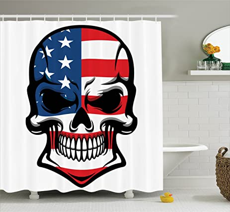Skulls Decorations Shower Curtain Set By Ambesonne, Scary Skull With  American Flag Dead Native Of