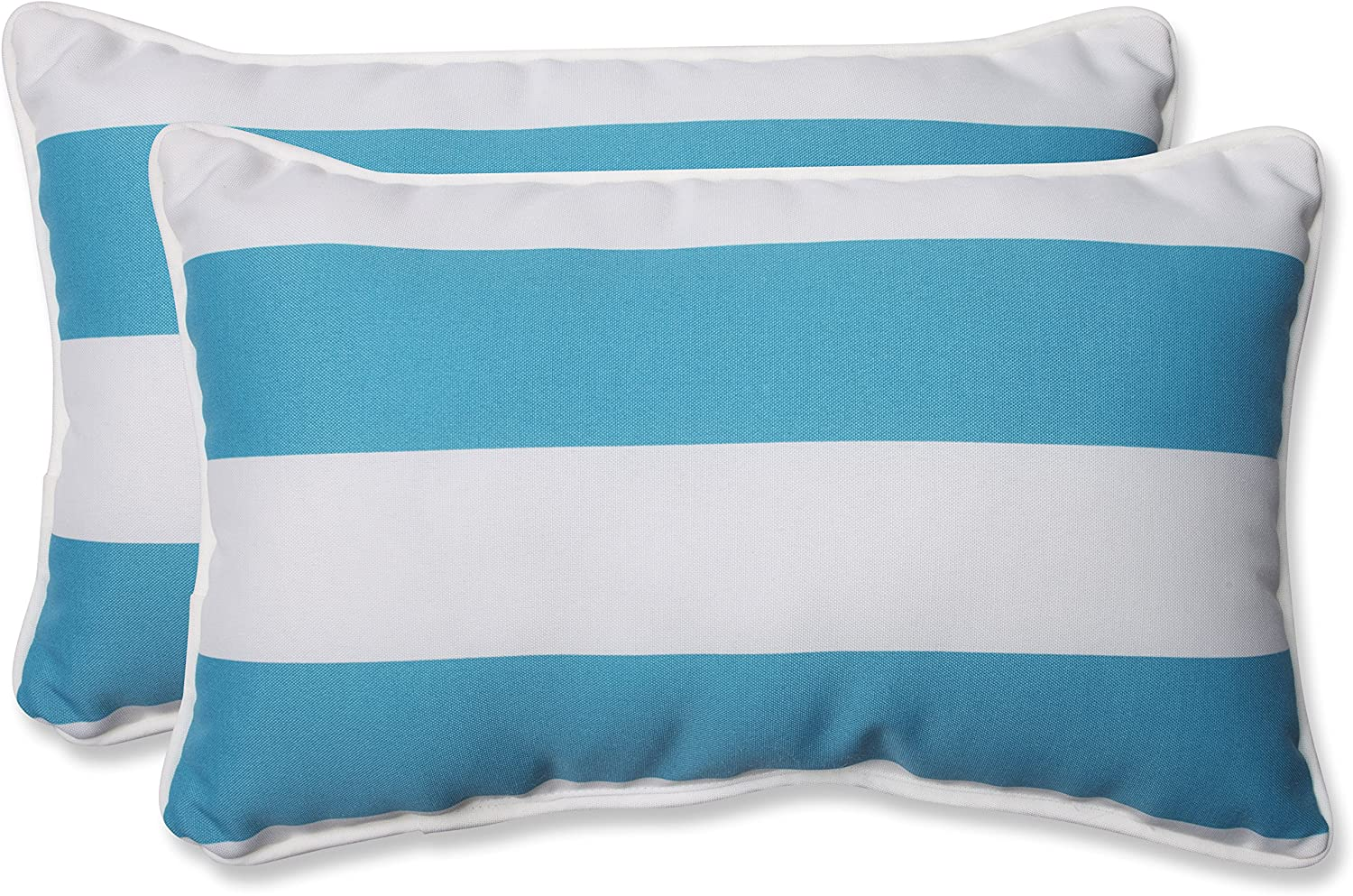 Pillow Perfect Outdoor Indoor Cabana Stripe Lumbar Pillows 11 5 X 18 5 Turquoise 2 Pack Home Kitchen Amazon Com