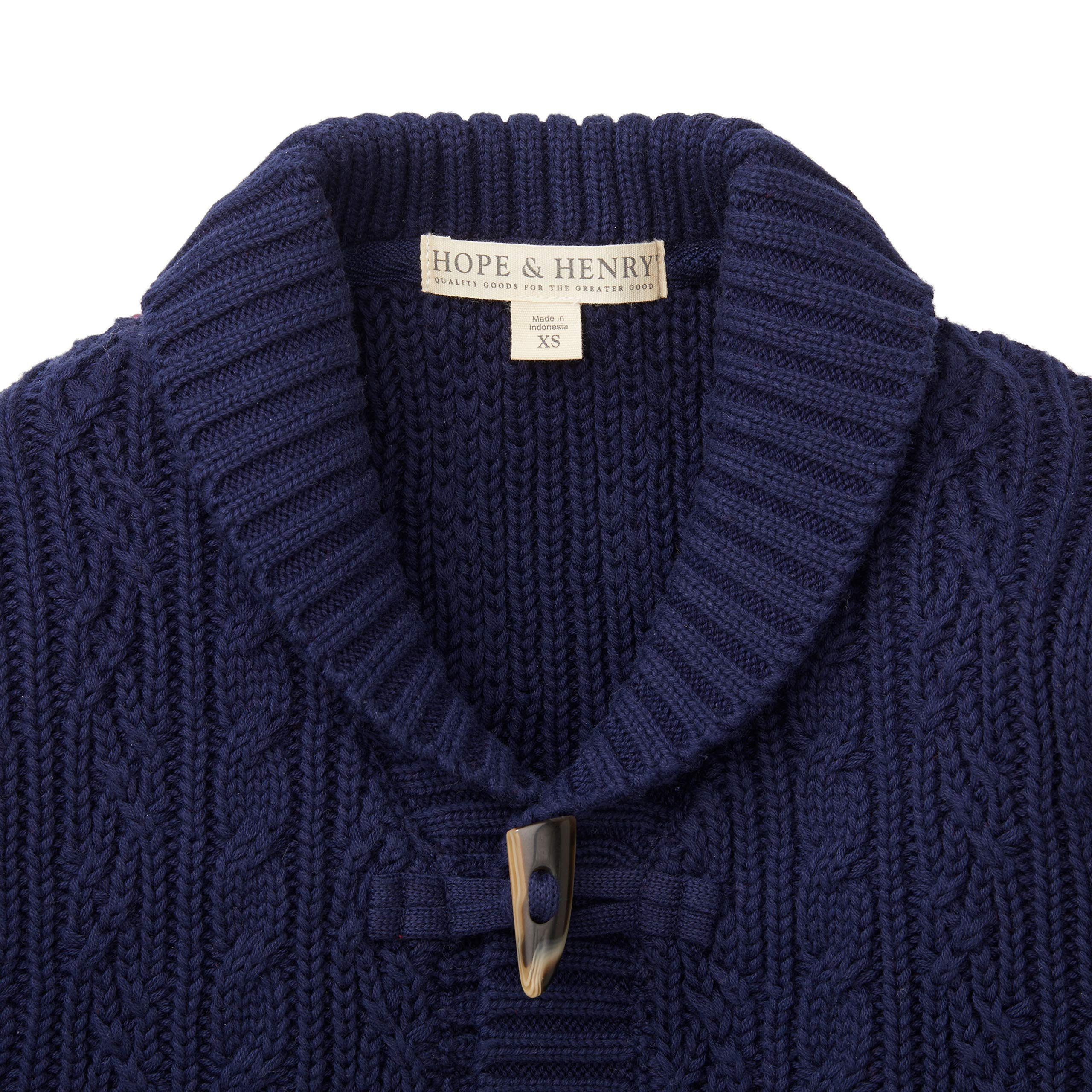 Hope & Henry Boys Navy Shawl Collar Cable Sweater by Hope & Henry (Image #2)