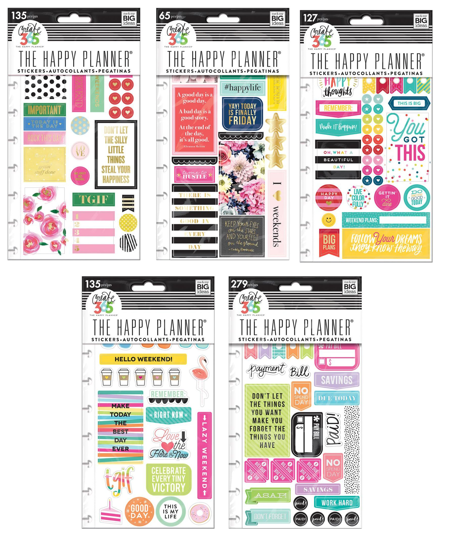 Create 365 Happy Planner Stickers Bundle - Happy Brights, TGIF, Make It Happen, Get Paid and Happy Life - 5 Items