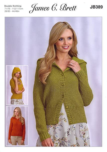 eb1c52b41397 James Brett Double Knitting Pattern Womens Hooded Sweaters   Cardigan  Twinkle DK (JB389)