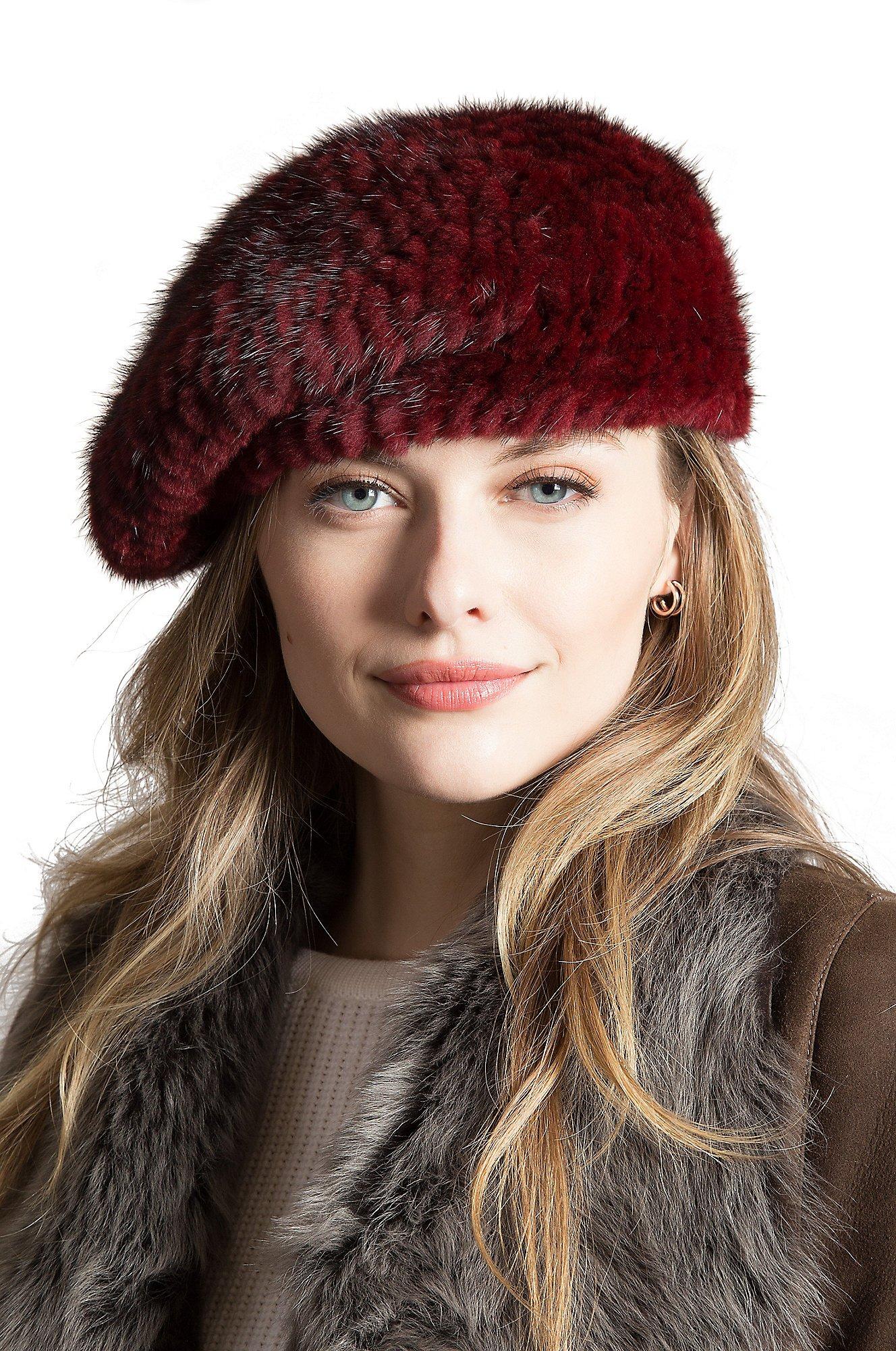 Overland Sheepskin Co. Knitted Mink Fur Beret, Burgundy, Size 1 Size
