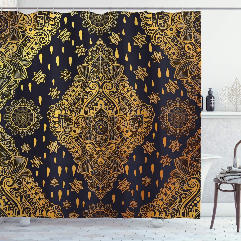 "Ambesonne Mandala Shower Curtain, Bohemian Paisley Ornament Tattoo Vintage Design Print, Cloth Fabric Bathroom Decor Set with Hooks, 70"" Long, Charcoal Grey"
