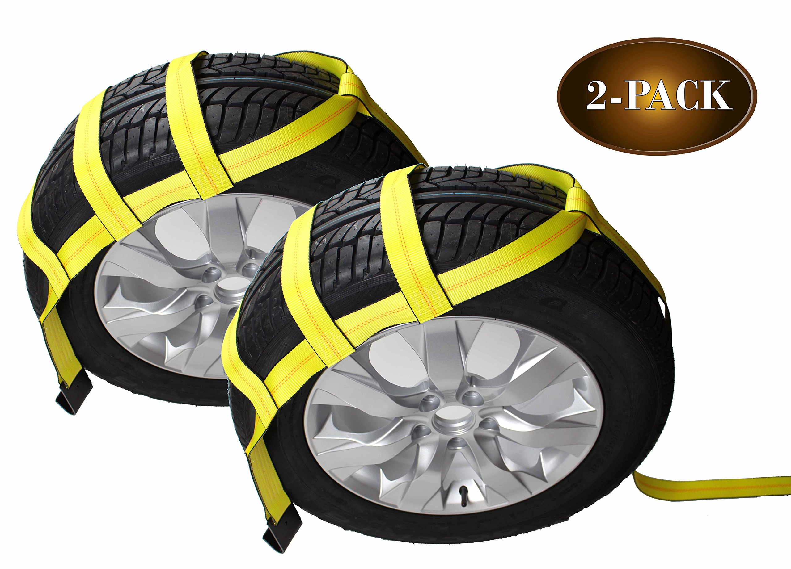 DC Cargo Mall Tow Dolly Basket Straps with Flat Hooks | 2-Pack | Car Wheel Straps for Auto Hauling by DC Cargo Mall