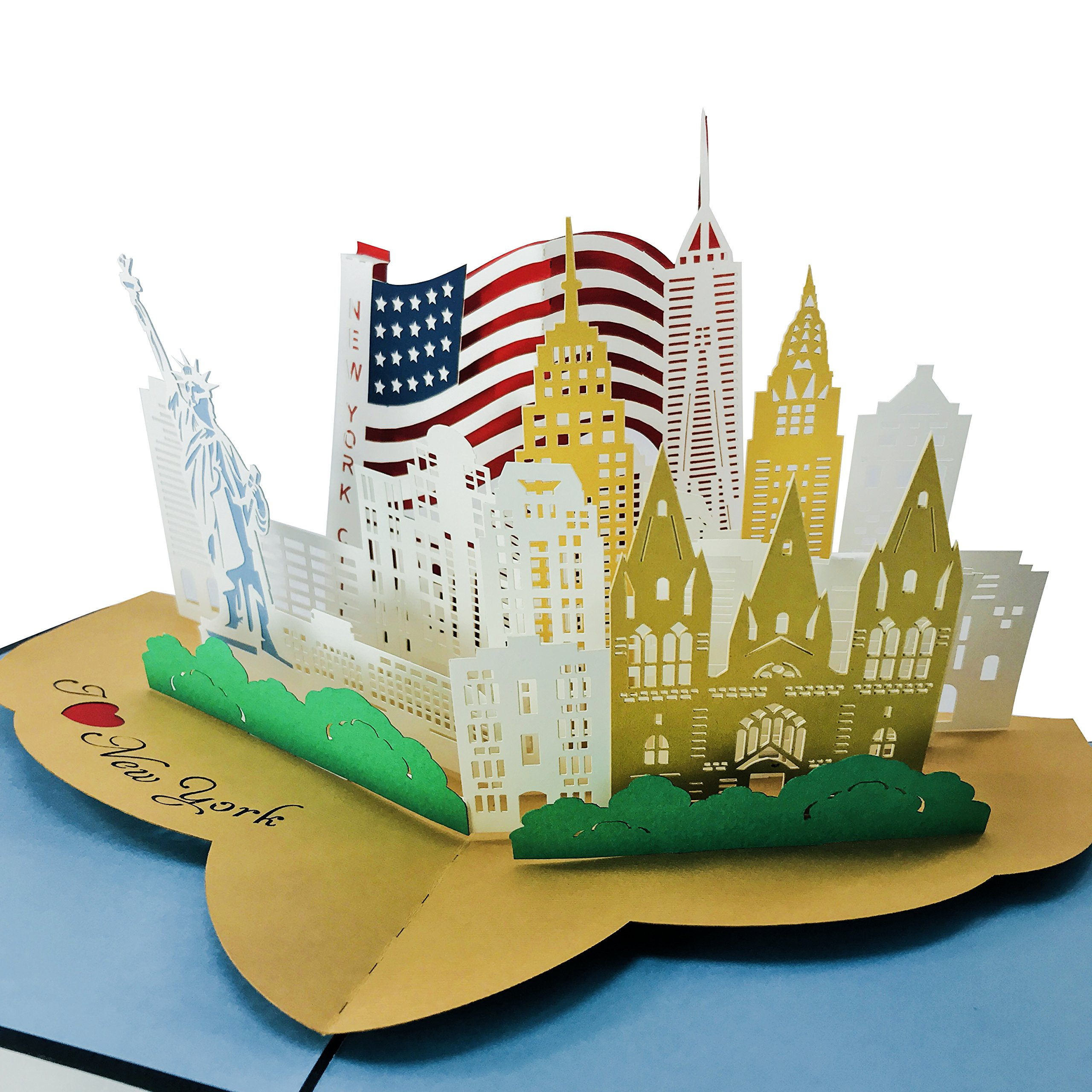 I Love New York City - 3D Pop Up Greeting Card for All Occasions - Travel, Love, Birthday, Retirement, Congrats, Thank You, Get Well, Christmas - Fold Flat, Envelope Included by WOWPAPERART