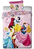 Parure de lit Princesse Disney Dancing 100% coton - Housse de couette lit 1 personne
