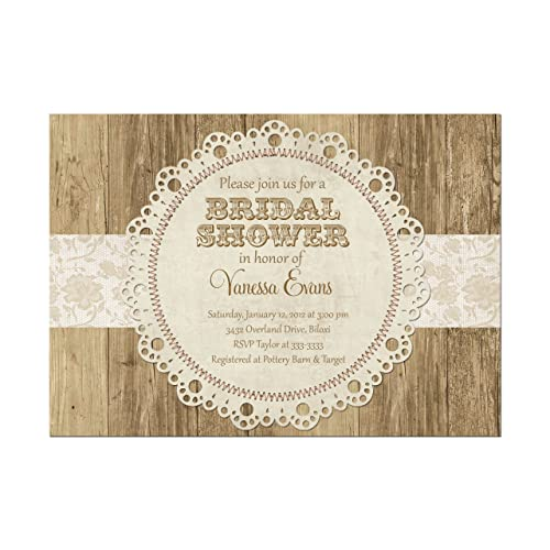 Amazon Com Rustic Doily And Lace Look Bridal Shower Invitation Set